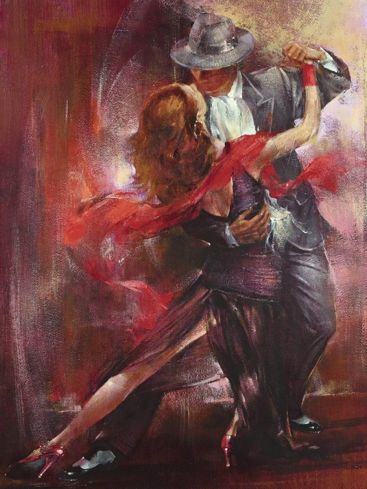 "This painting ""Tango Argentino"" is in my room, both he and I love it."